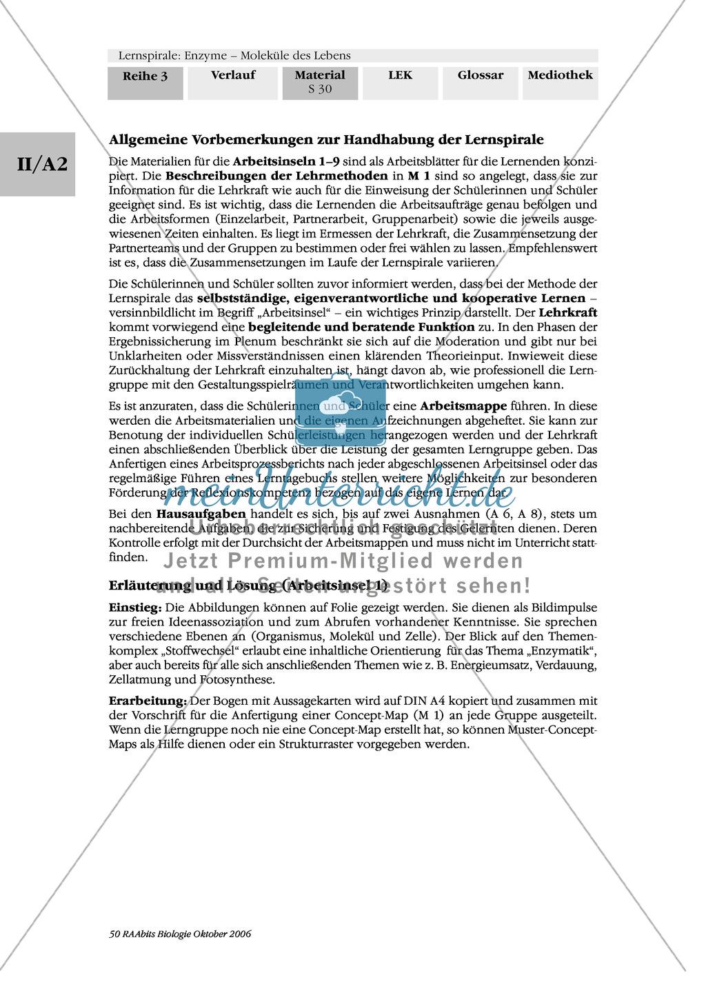 Enzyme: Arbeitsinseln zu den Themen Stoffwechsel, Enzymreaktionen, Hemmstoffe, Cofaktoren, Regulation Preview 22