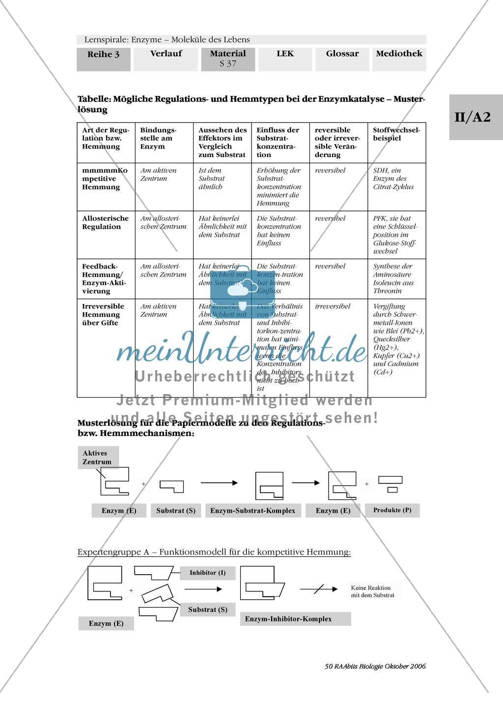 Enzyme: Arbeitsinseln zu den Themen Stoffwechsel, Enzymreaktionen, Hemmstoffe, Cofaktoren, Regulation Preview 29