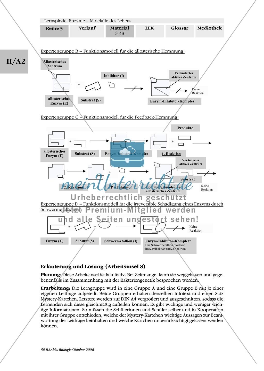 Enzyme: Arbeitsinseln zu den Themen Stoffwechsel, Enzymreaktionen, Hemmstoffe, Cofaktoren, Regulation Preview 30