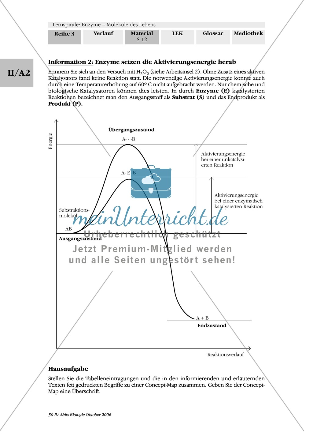 Enzyme: Arbeitsinseln zu den Themen Stoffwechsel, Enzymreaktionen, Hemmstoffe, Cofaktoren, Regulation Preview 5