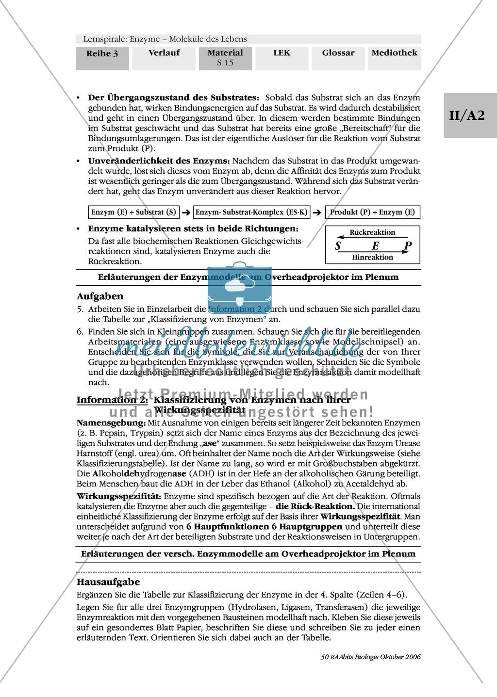 Enzyme: Arbeitsinseln zu den Themen Stoffwechsel, Enzymreaktionen, Hemmstoffe, Cofaktoren, Regulation Preview 8