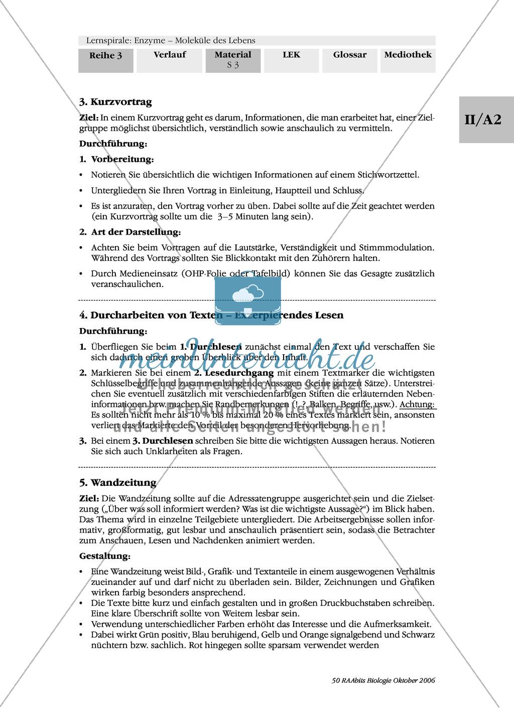 Optimale Bedingungen für Enzymreaktionen: Wandzeitung, Versuch Preview 0