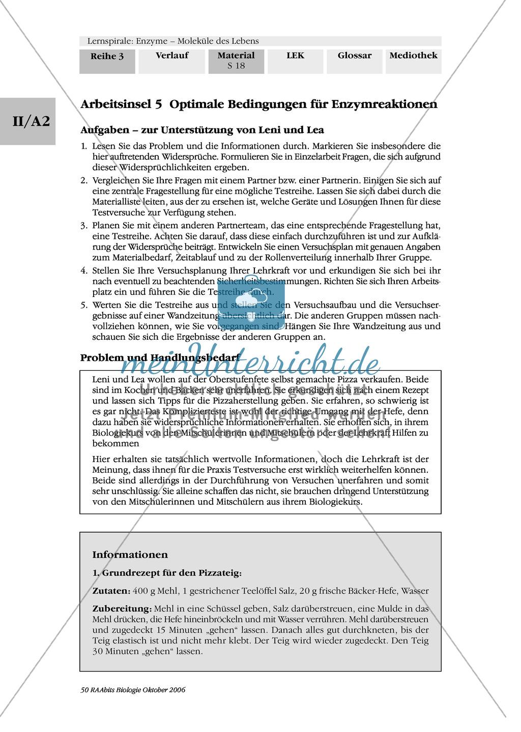 Optimale Bedingungen für Enzymreaktionen: Wandzeitung, Versuch Preview 1