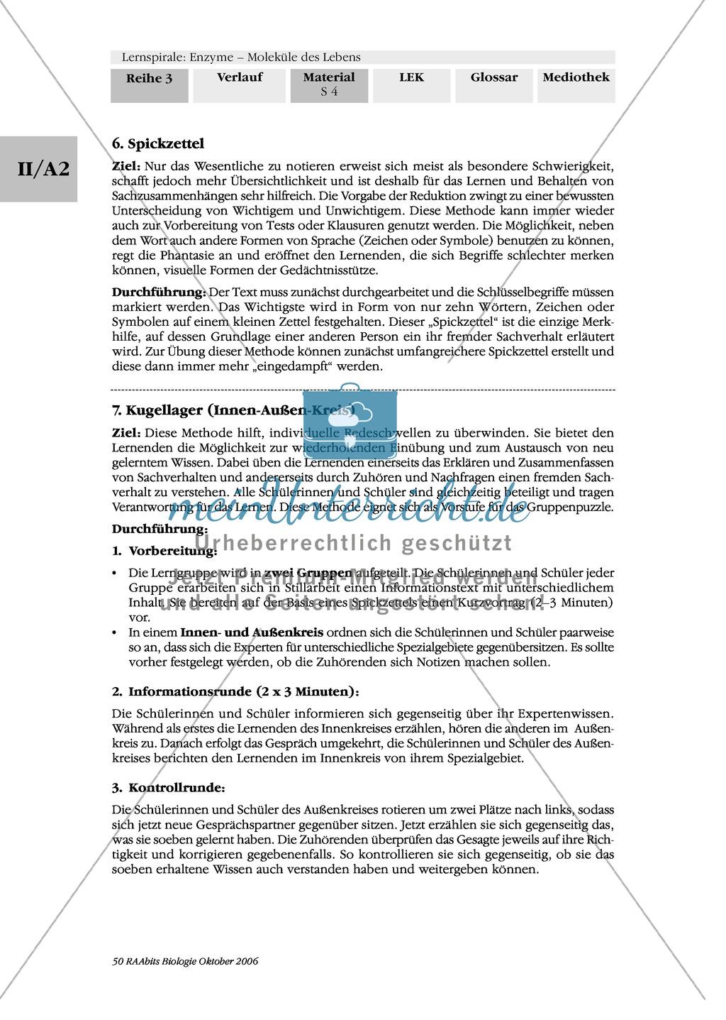 Cofaktoren für enzymatische Reaktionen: Exzerpierendes Lesen, Spickzettel, Kugellager Preview 1