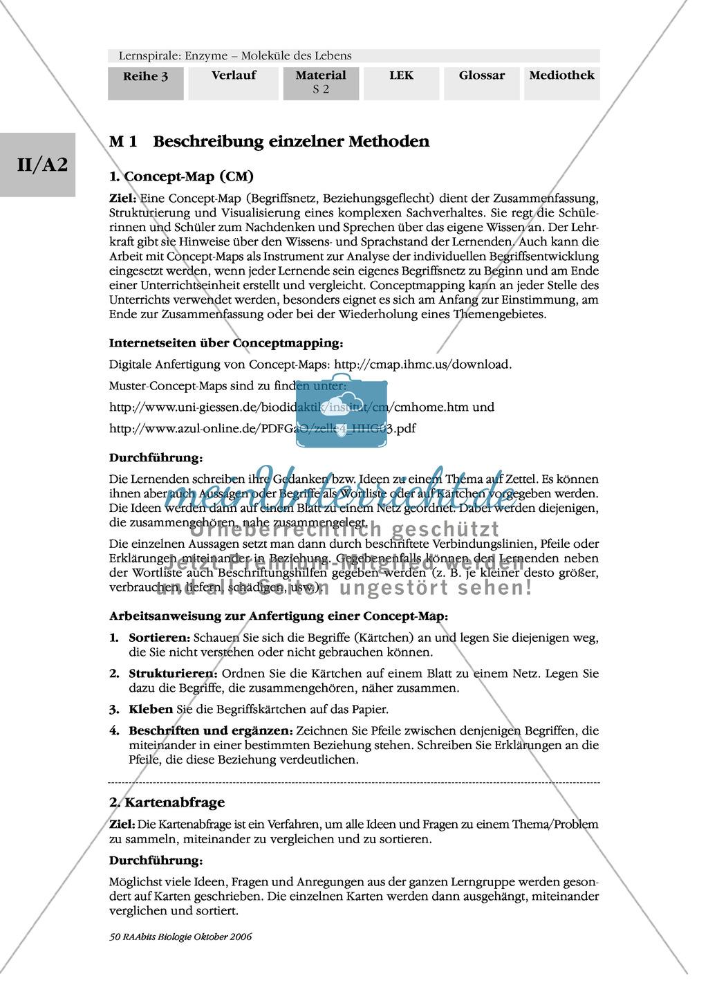 Enzyme: Ergebnissicherung von Arbeitsphasen: Systematisierung und Vermittlung des Gelernten: Concept-Map, Fishbowl Preview 0