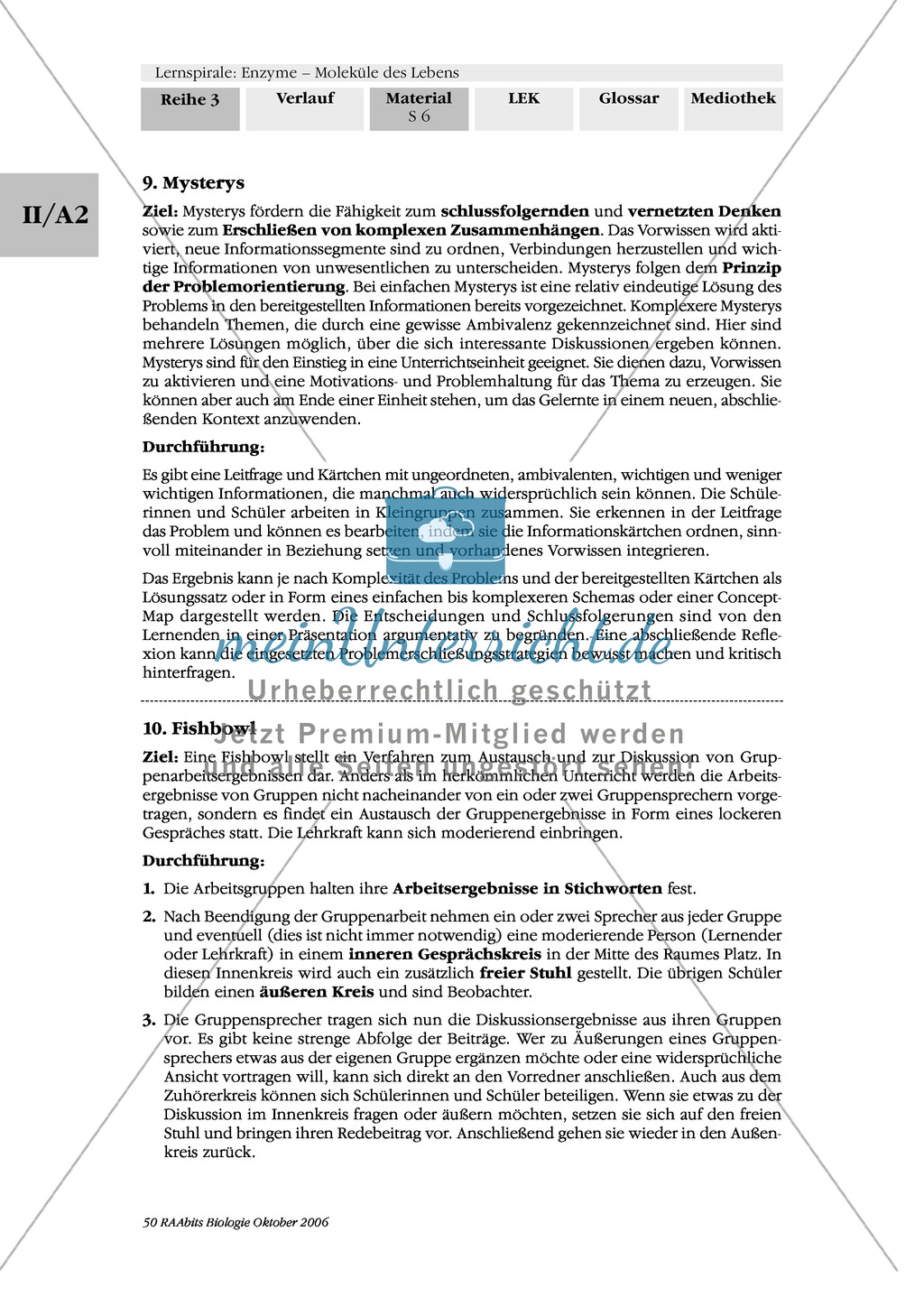 Enzyme: Ergebnissicherung von Arbeitsphasen: Systematisierung und Vermittlung des Gelernten: Concept-Map, Fishbowl Preview 1