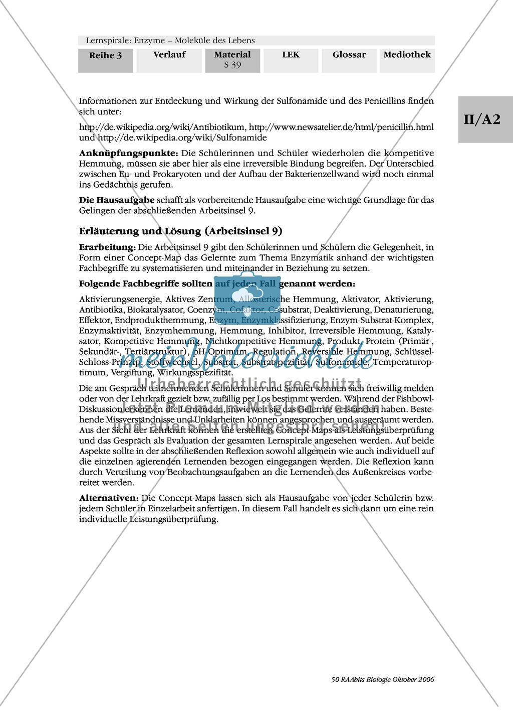 Enzyme: Ergebnissicherung von Arbeitsphasen: Systematisierung und Vermittlung des Gelernten: Concept-Map, Fishbowl Preview 3