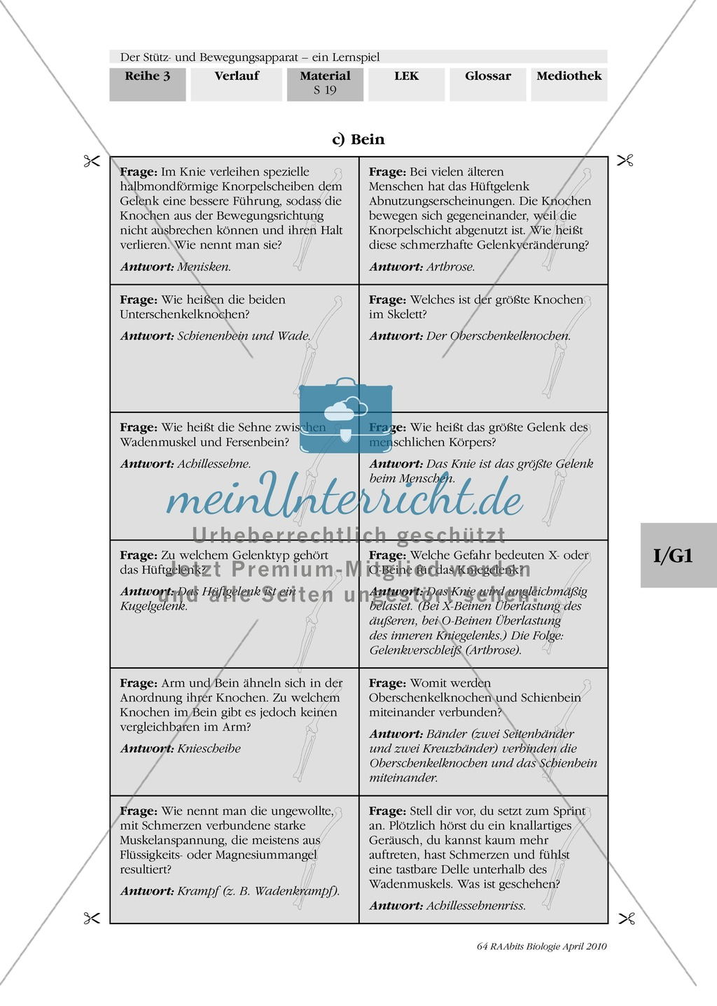 Lernspiel zum Stütz- und Bewegungsapparat: Spielanleitung, Spielfeld, Skelett-Puzzleteile, Fragen, Spielkarten, Röntgenbilder Kontrollbogen, Lösungsbogen Preview 17