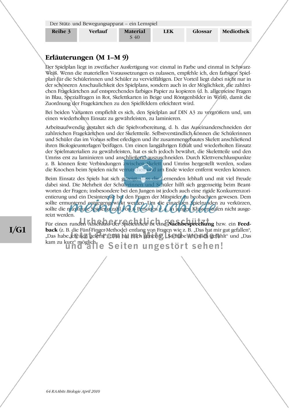 Lernspiel zum Stütz- und Bewegungsapparat: Spielanleitung, Spielfeld, Skelett-Puzzleteile, Fragen, Spielkarten, Röntgenbilder Kontrollbogen, Lösungsbogen Preview 38