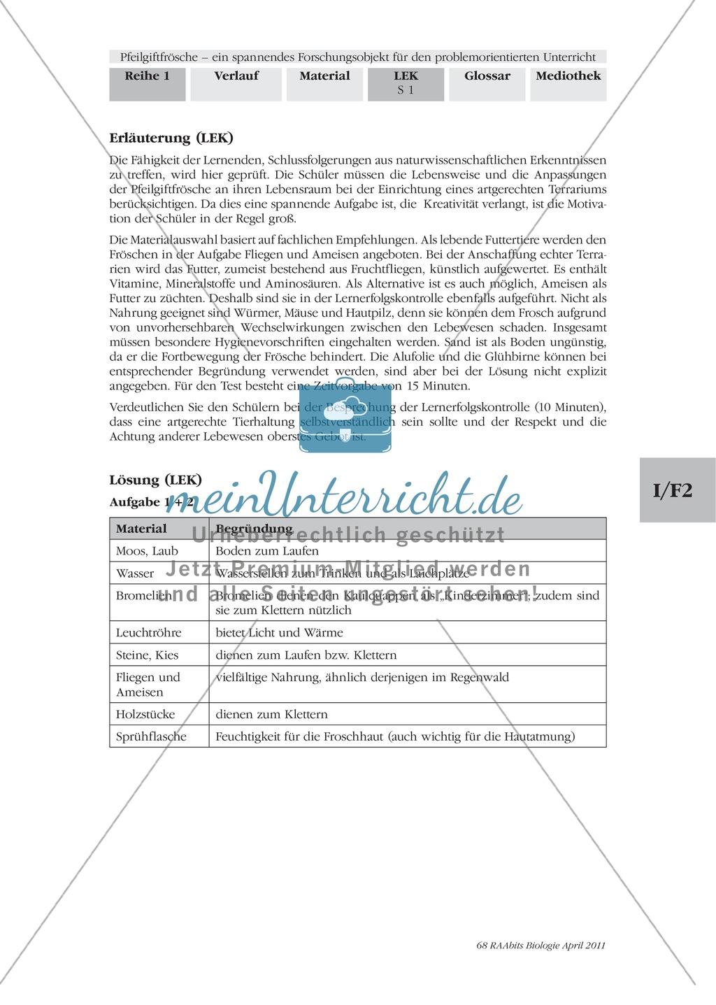 Lernerfolgskontrolle zum Thema Frösche am Beispiel der Pfeilgiftfrösche Preview 2
