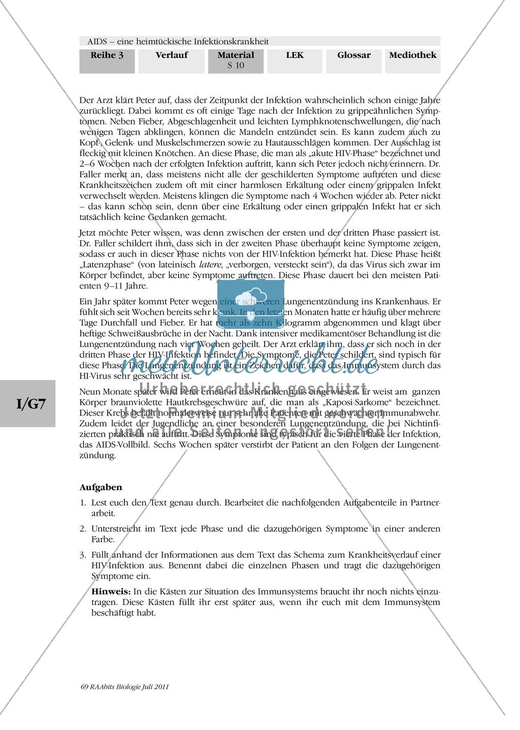 Krankheitsverlauf AIDS: Text Krankheitsgeschichte Preview 1