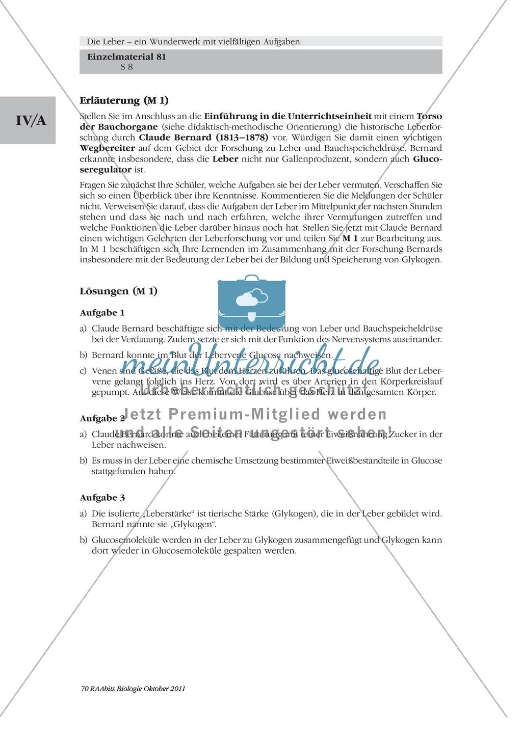 Leber: Einführung, Text, Experimente an der Leber, Claude Bernard Preview 1