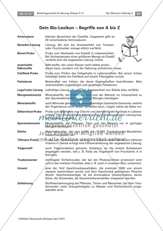 Glossar und Lexikon zu Geschmack, Nährstoffen, Nährstoffnachweisen Preview 0
