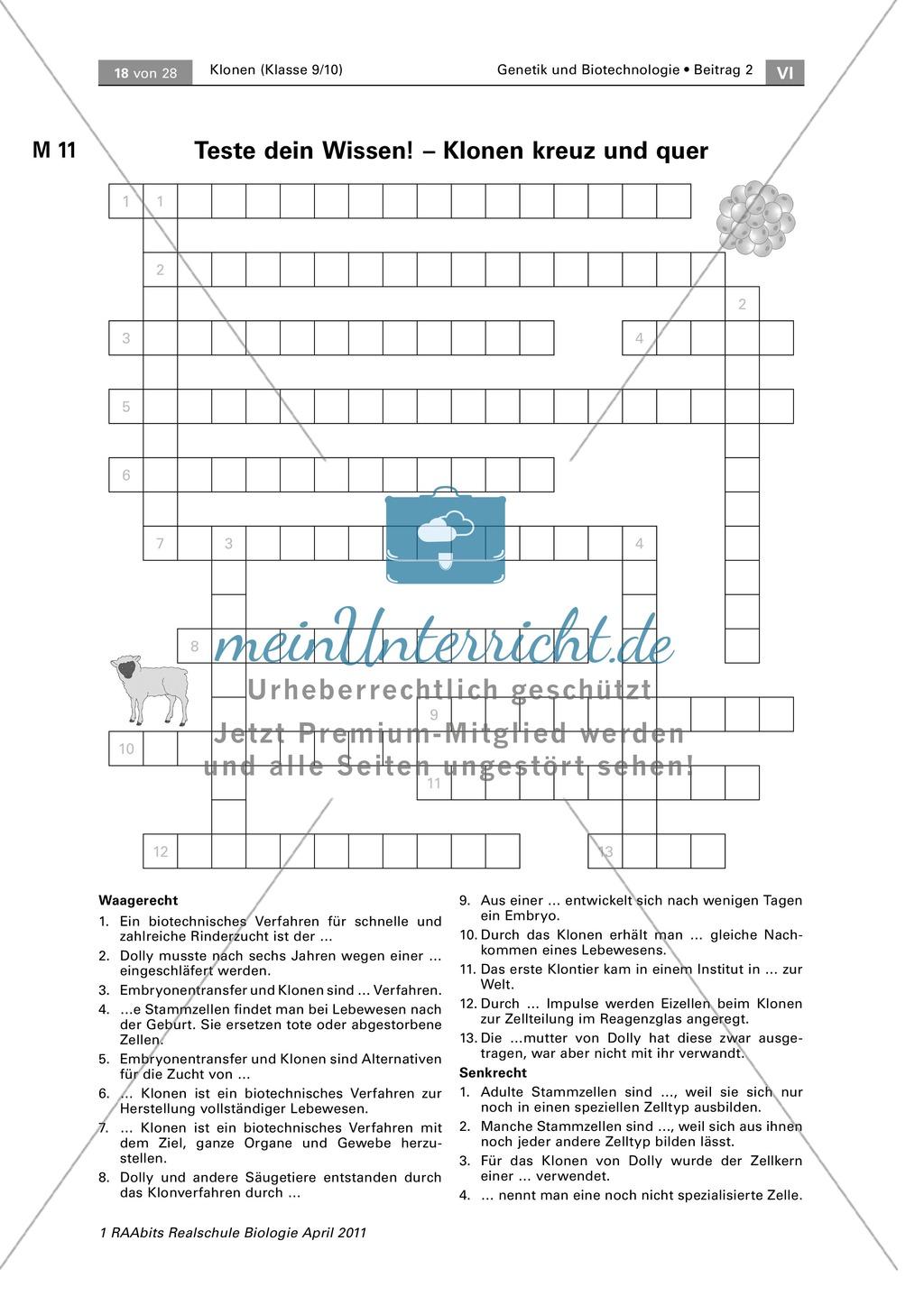 Lernerfolgskontrolle oder Hausaufgabe zum Thema Klonen Preview 0