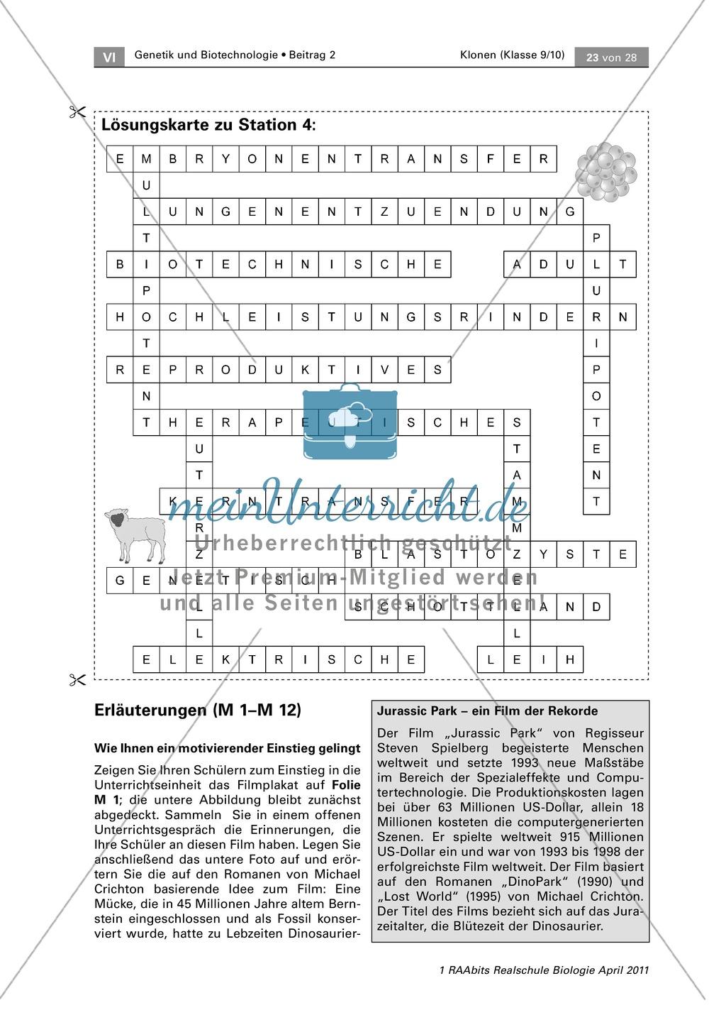 Lernerfolgskontrolle oder Hausaufgabe zum Thema Klonen Preview 1
