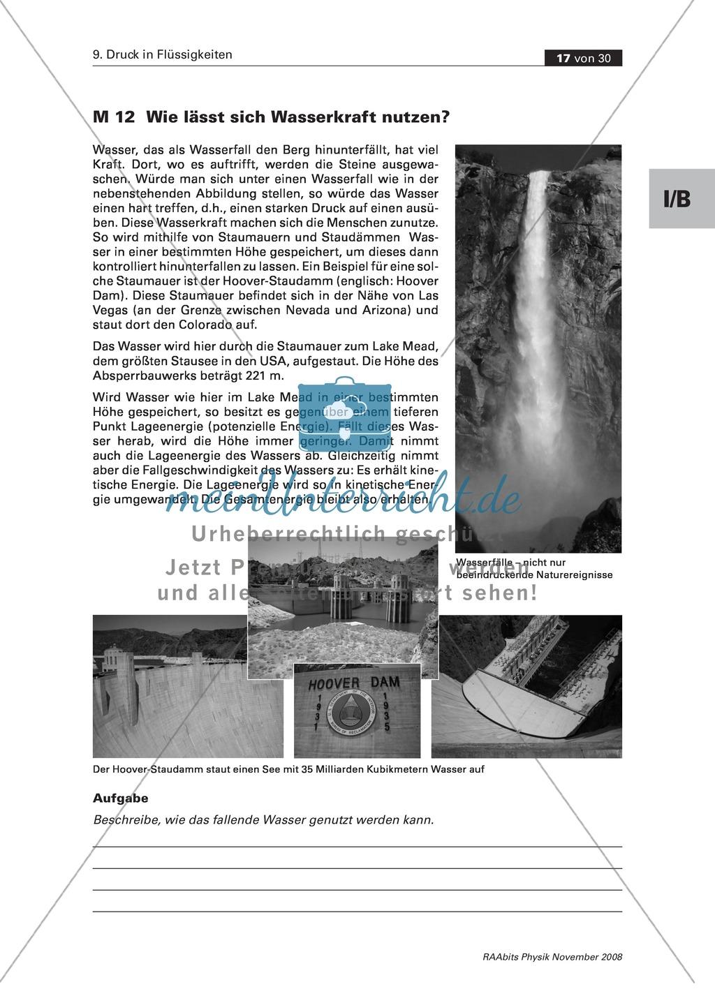 Druck in Flüssigkeiten: Schülerversuche: Wie spritzt die Flasche? + Wie lässt sich Wasserkraft nutzen? + Wasserheber bauen + Fische, Hefe und Co. Preview 2