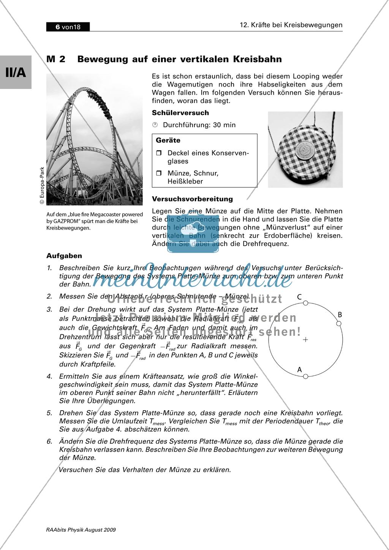 Mechanik: Kräfte bei der vertikalen und horizontalen Kreisbewegung ...