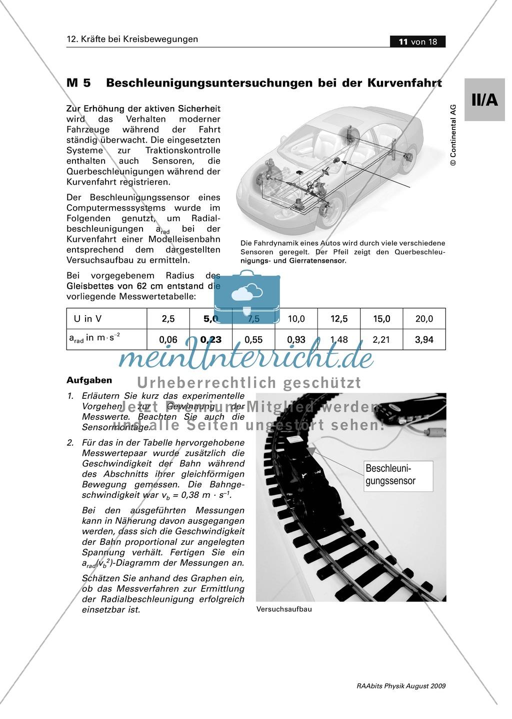 Mechanik: Kreisbewegung - Kräfte bei Kurvenfahrten - Schülerversuche ...