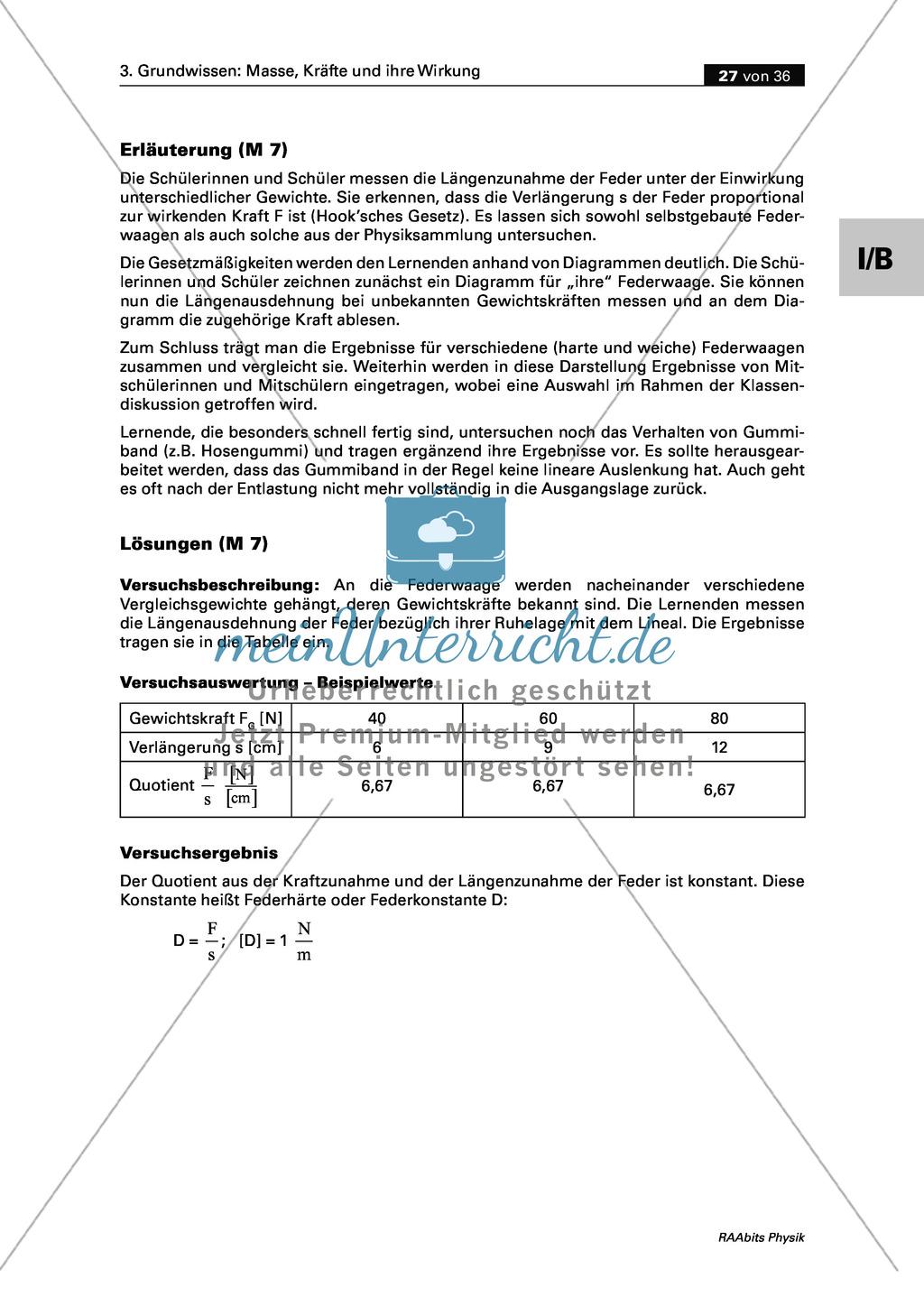 Mechanik: Erarbeitung des Unterschieds zwischen Masse und Gewichtskraft mit Aufgaben und Lösungen und Selbstbau von Messgeräten. Preview 15