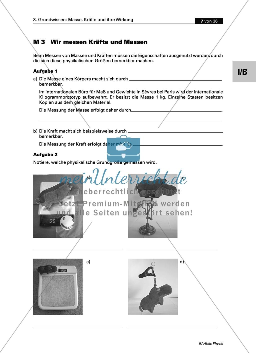 Mechanik: Erarbeitung des Unterschieds zwischen Masse und Gewichtskraft mit Aufgaben und Lösungen und Selbstbau von Messgeräten. Preview 4