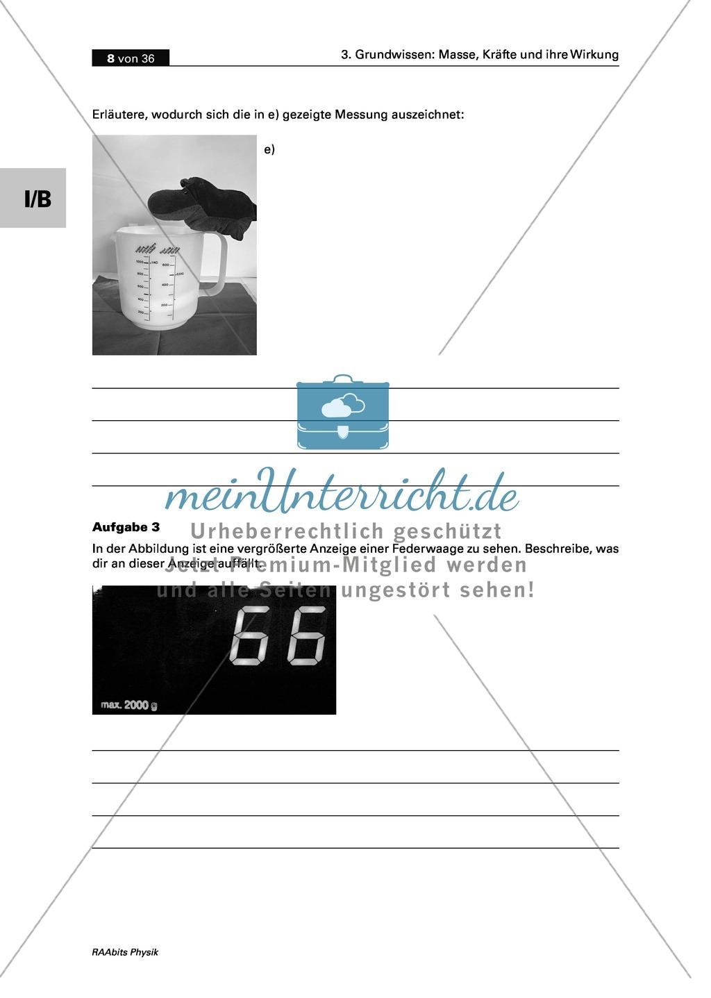 Mechanik: Erarbeitung des Unterschieds zwischen Masse und Gewichtskraft mit Aufgaben und Lösungen und Selbstbau von Messgeräten. Preview 5