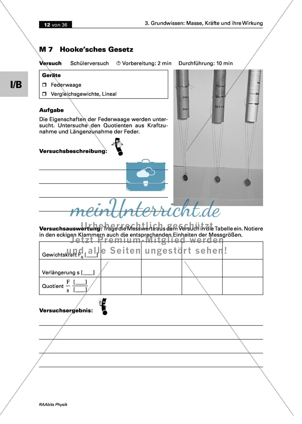 Mechanik: Erarbeitung des Unterschieds zwischen Masse und Gewichtskraft mit Aufgaben und Lösungen und Selbstbau von Messgeräten. Preview 9