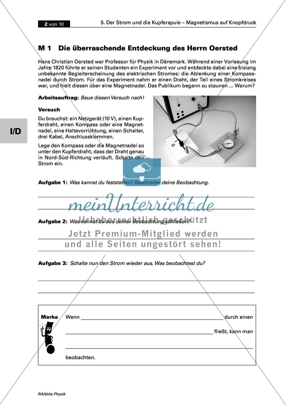 Der Strom und die Kupferspule: Der Versuch von Oersted + die ...