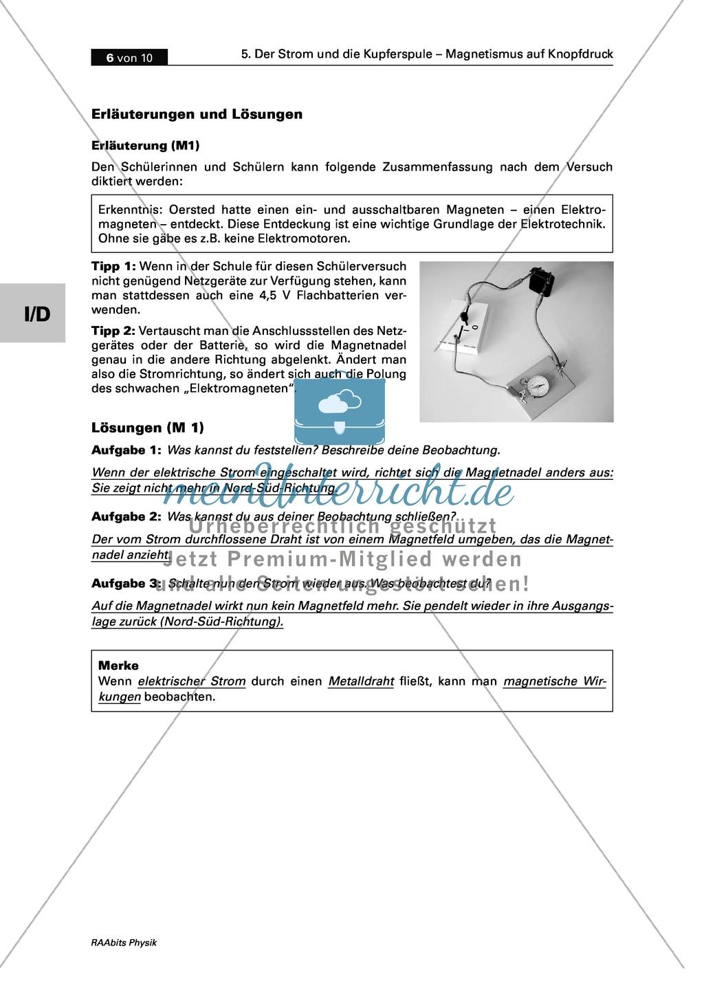 Der Strom und die Kupferspule: Der Versuch von Oersted + die magnetische Wirkung des elektrischen Stroms Preview 2