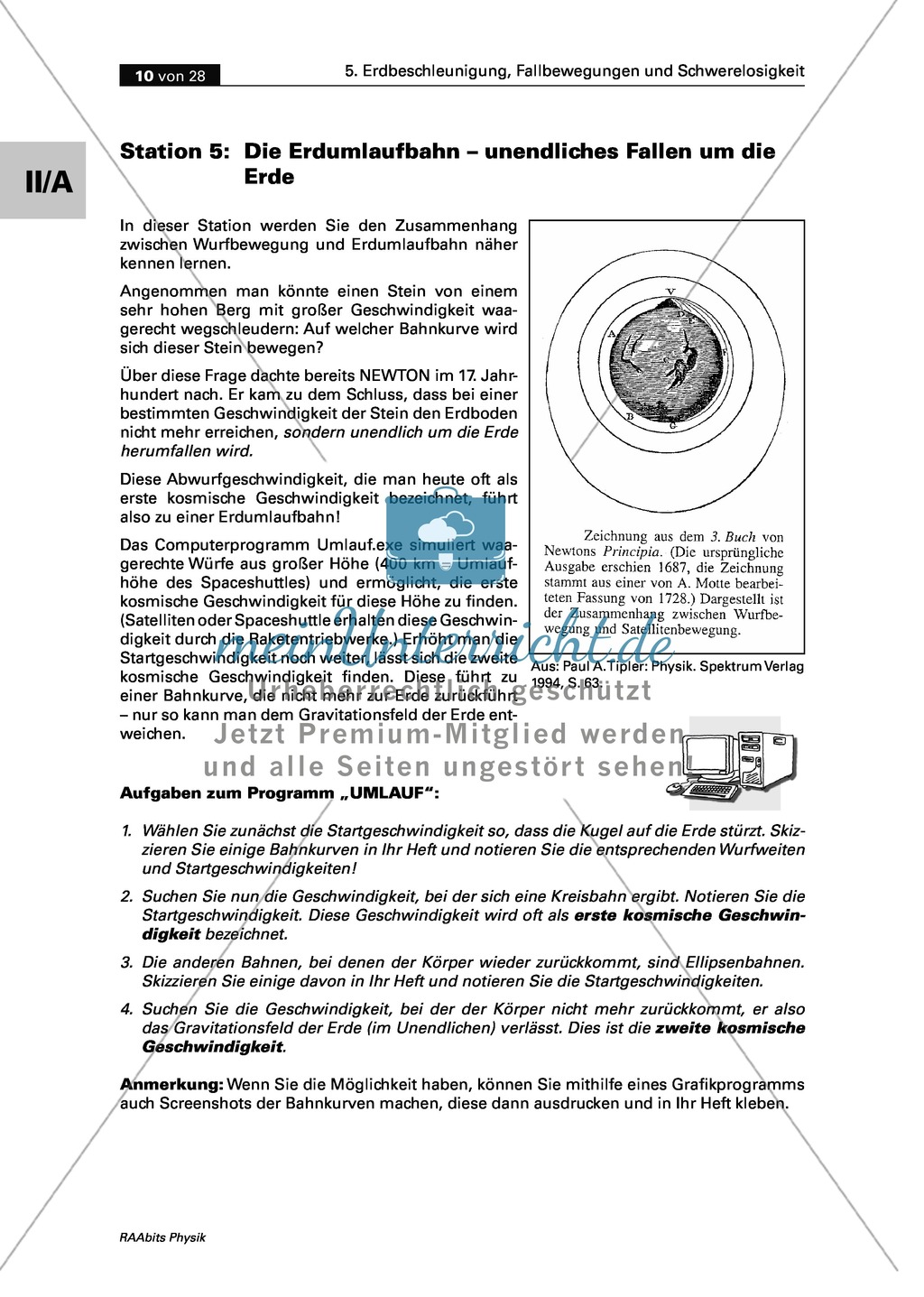 Mechanik: Umlaufbahnen, Parabelflug und künstliche Schwerkraft ...