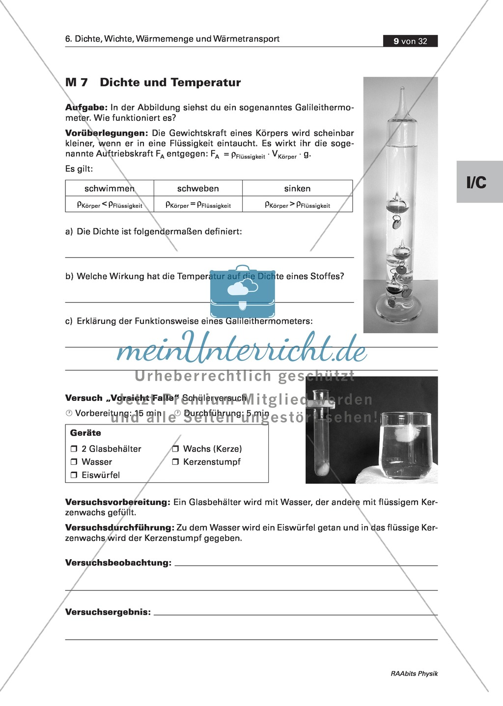 Dichte und Temperatur - Am Beispiel Galileithermometer - meinUnterricht