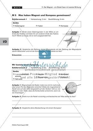 Der Magnet: Prinzip + Funktion eines Kompass