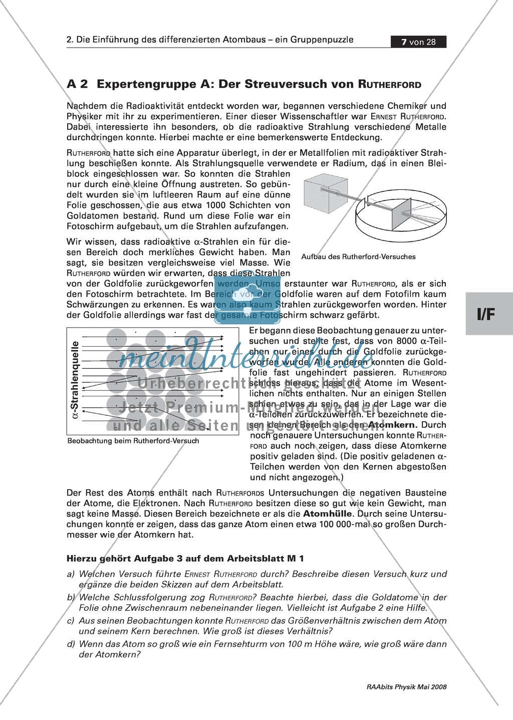 Einführung des differenzierten Atombaus: Der Kern-Hülle-Aufbau des ...