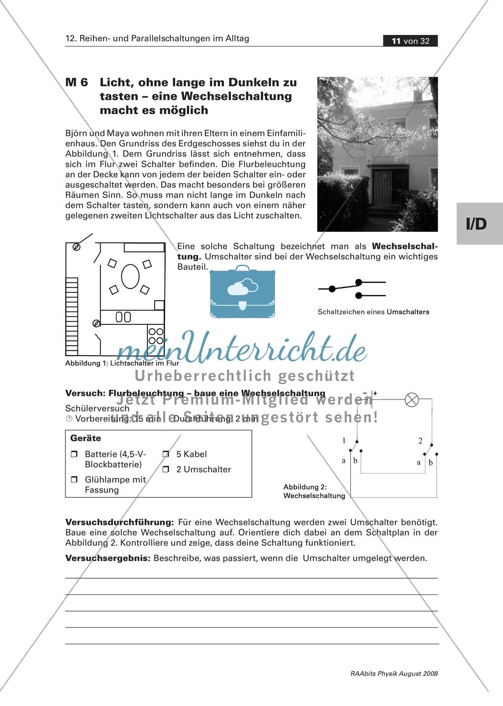 Reihen- und Parallelschaltungen: Der Schaltkreis + Umschalter + ...