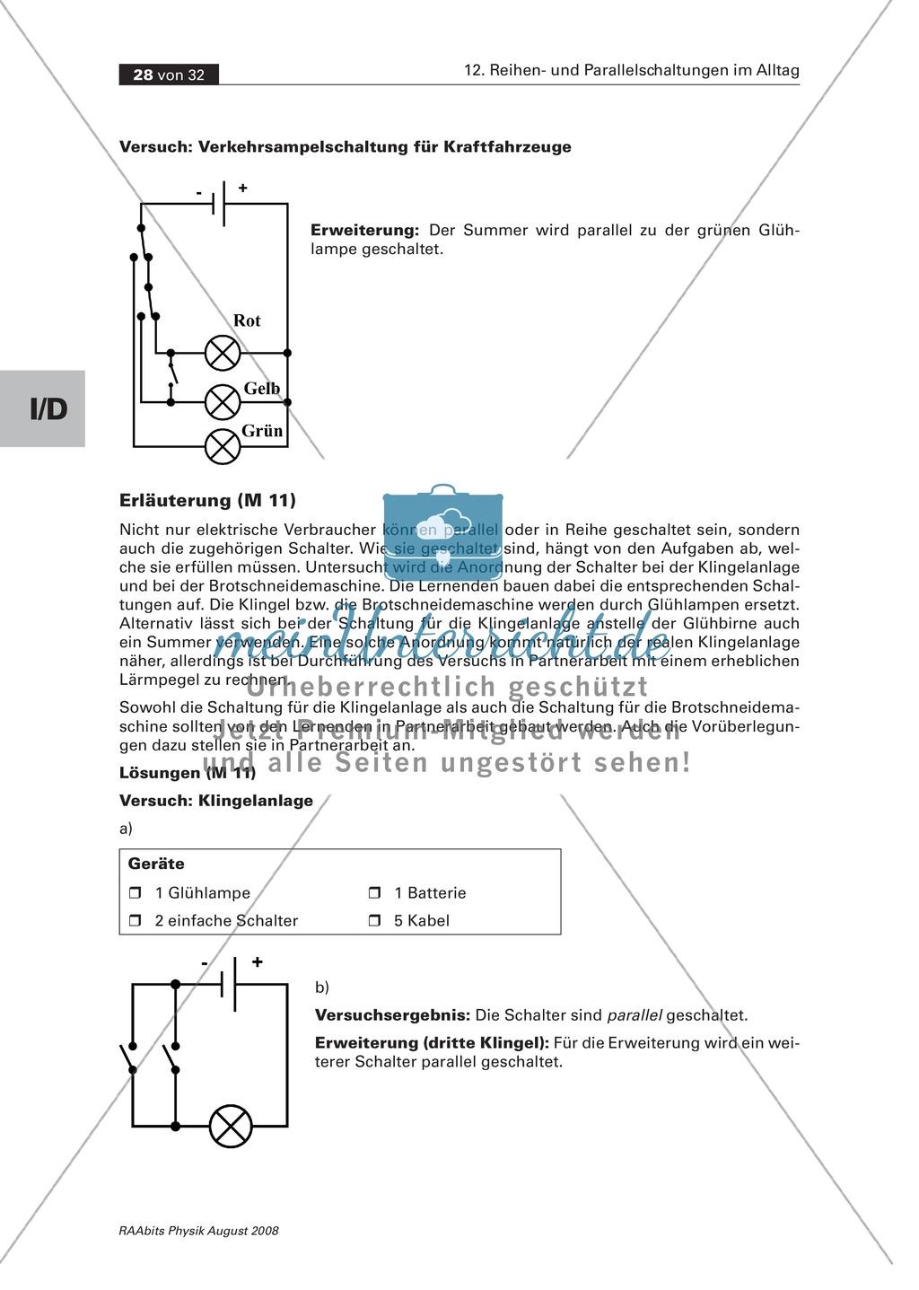 Reihen- und Parallelschaltungen: Beispiele aus dem Alltag wie z.B. ...