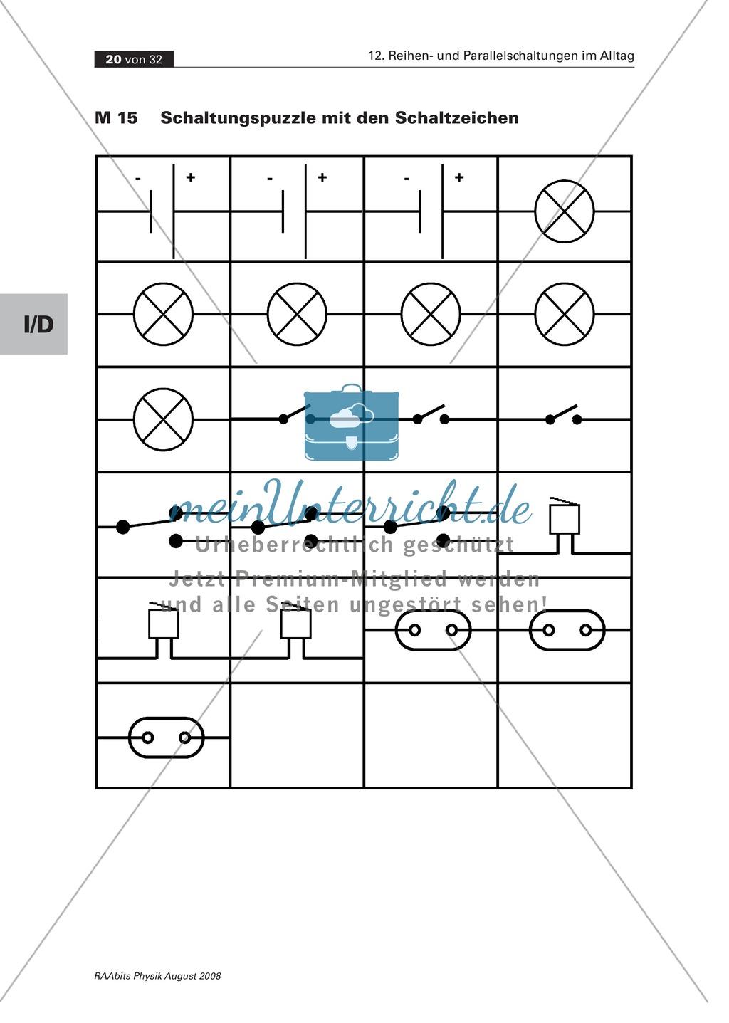 Reihen- und Parallelschaltungen im Alltag: Quiz + Schaltungspuzzle ...