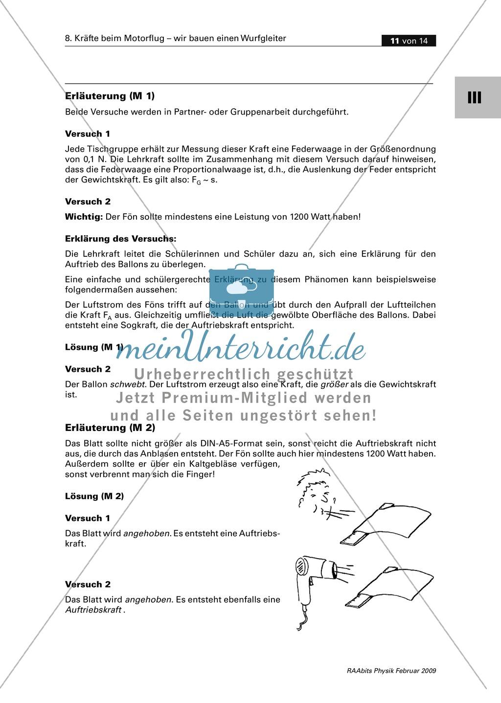 Unterrichtseinheit zum Thema Fliegen: Auftrieb von Tragflächen ...