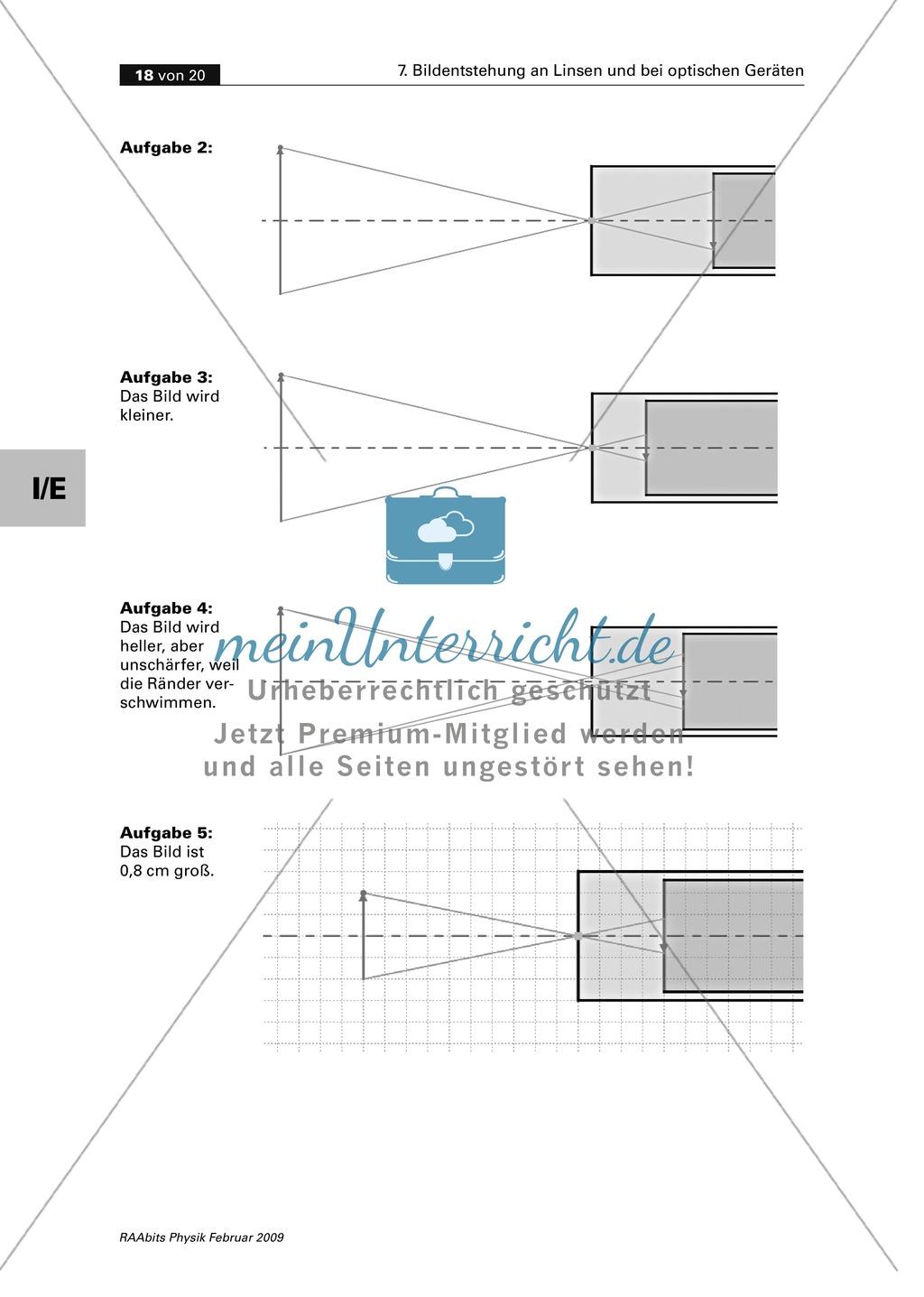 Die Bildentstehung bei Linsen, Auge, Kamera mit GEONExT simulieren und im Schülerversuch untersuchen. Mit Aufgaben und Lösungen. Preview 9
