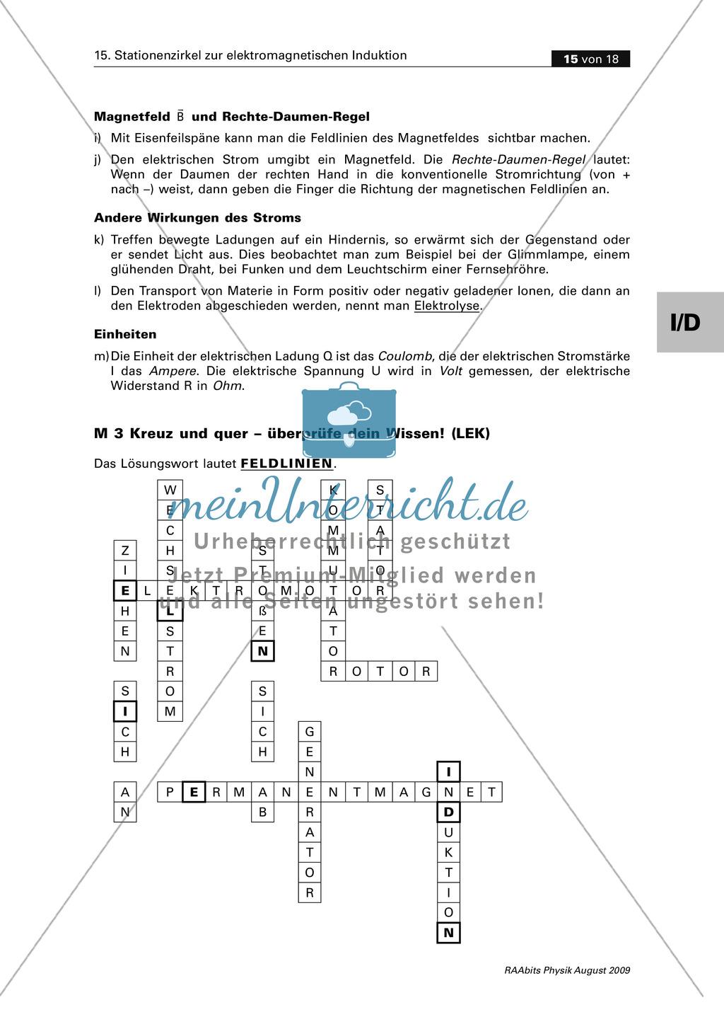 Elektrizitätslehre: Kreuzworträtsel zum Thema elektromagnetische ...