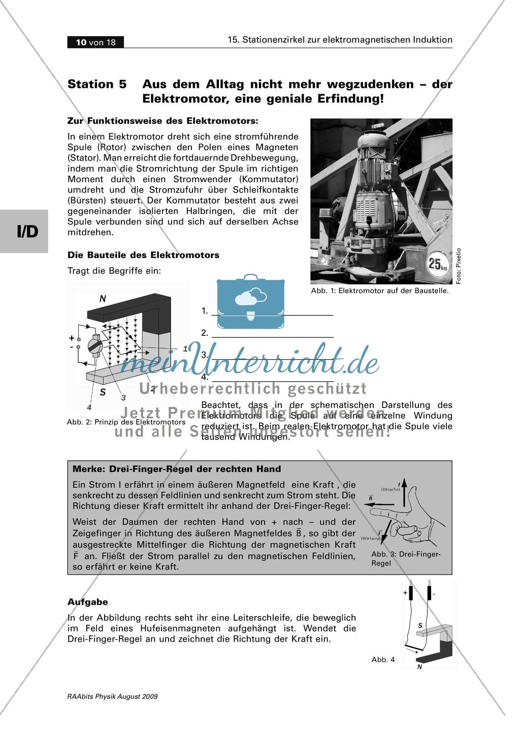 Elektrizitätslehre: Den Elektromotor verstehen. Mit Schülerversuch, Aufgaben und Lösungen. Preview 2