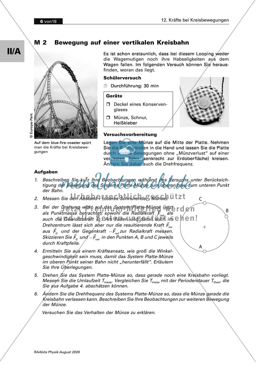 Kräfte bei Kreisbewegungen: Bewegung auf einer vertikalen Kreisbahn ...