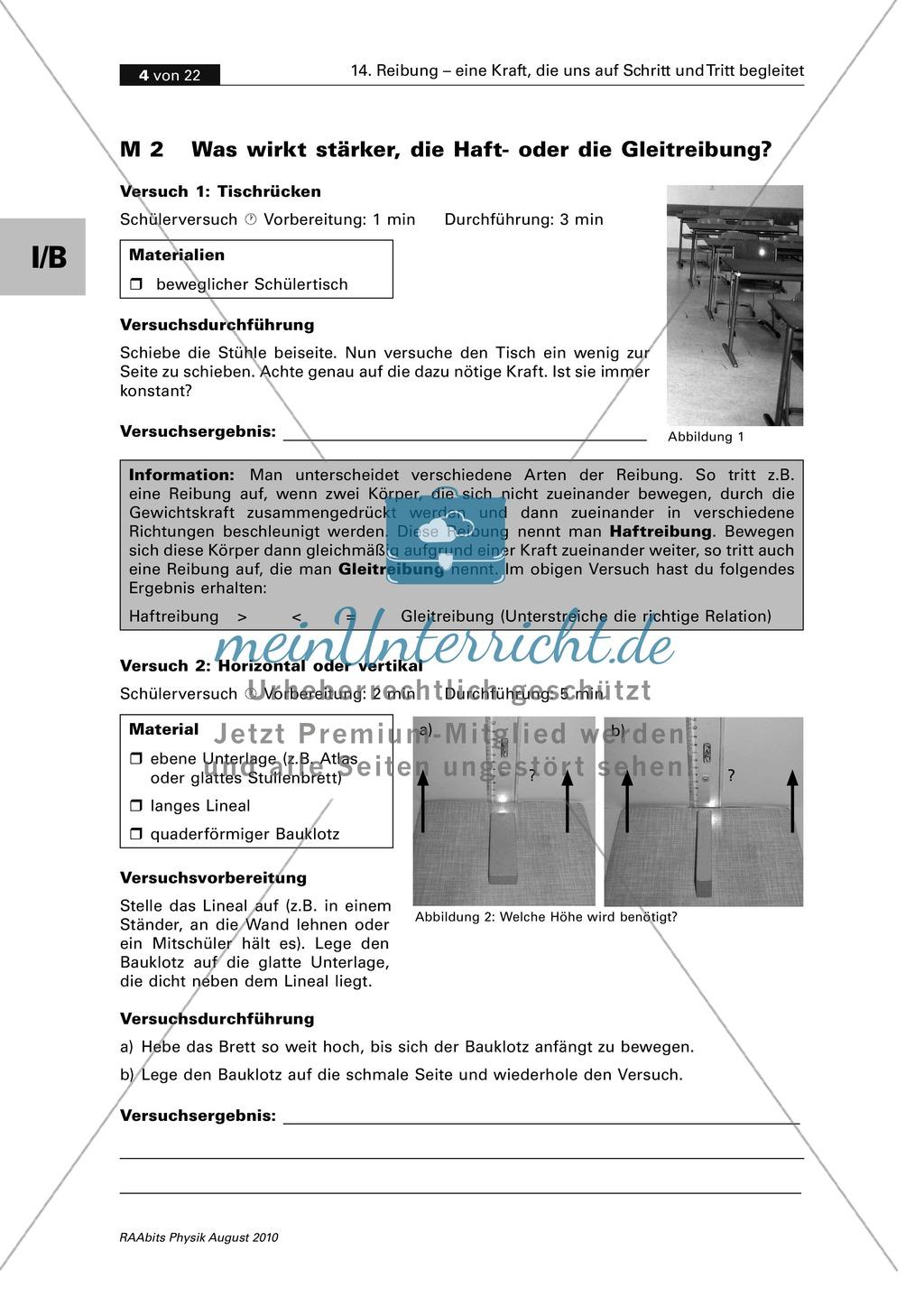Reibung: Reibungsformen - Haften + Gleiten + Rollen Preview 1