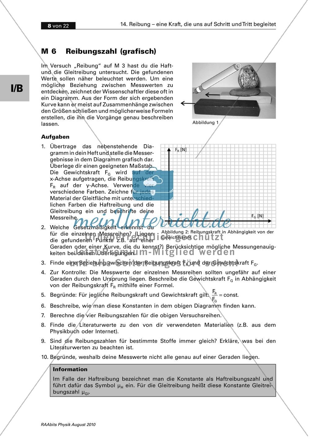 Reibung: Zwei Auswertungsmethoden der Physik - grafisch + rechnerisch Preview 1