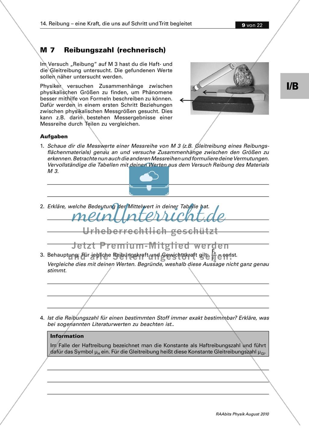 Reibung: Zwei Auswertungsmethoden der Physik - grafisch + rechnerisch Preview 2
