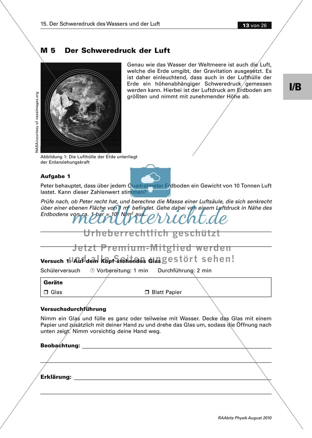 Mechanik: Der Schweredruck der Luft und der Auftrieb in Luft. Mit Infomaterial, Schülerversuchen, Aufgaben und Lösungen Preview 1