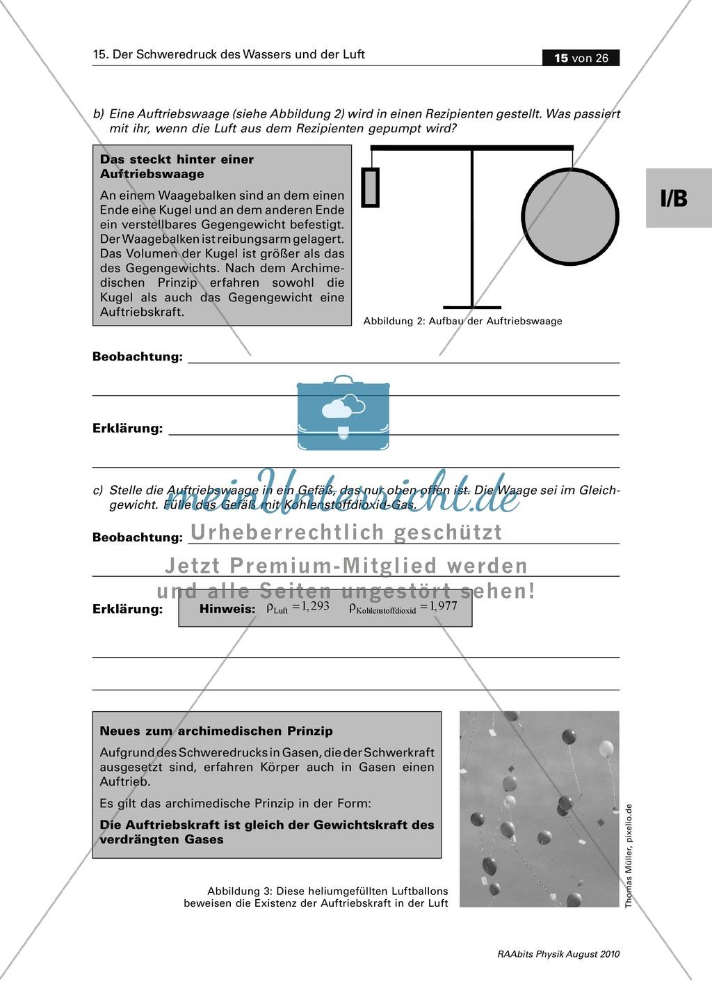 Mechanik: Der Schweredruck der Luft und der Auftrieb in Luft. Mit Infomaterial, Schülerversuchen, Aufgaben und Lösungen Preview 3