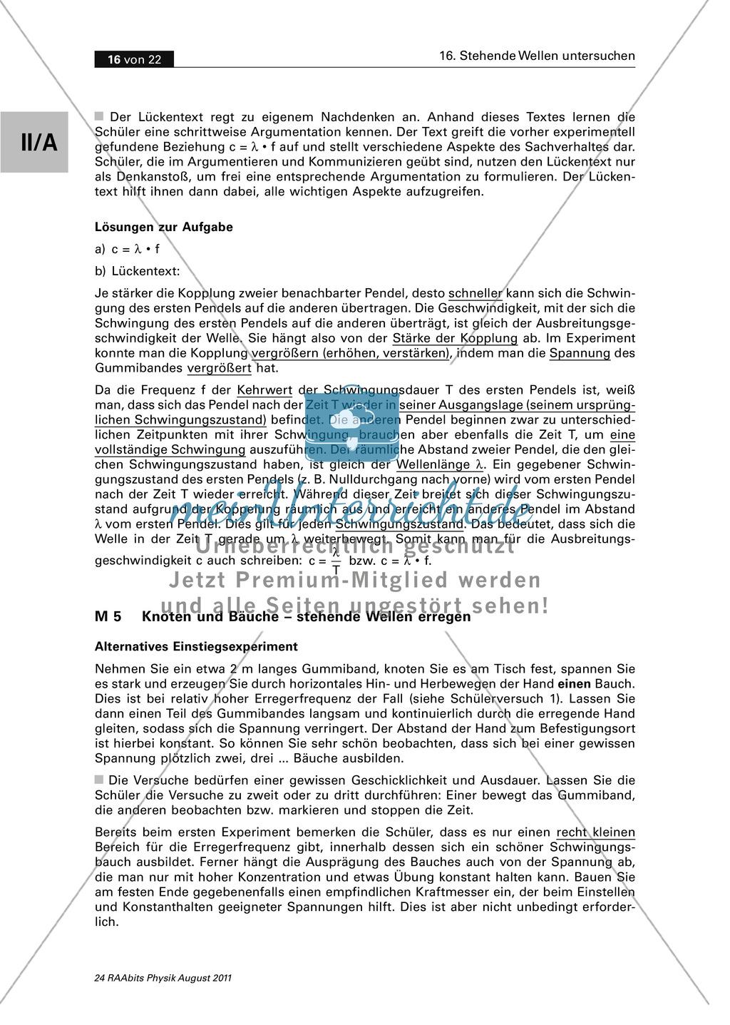 Stehende Welle: Experimente mit dem Gummiband - Erzeugen einer ...
