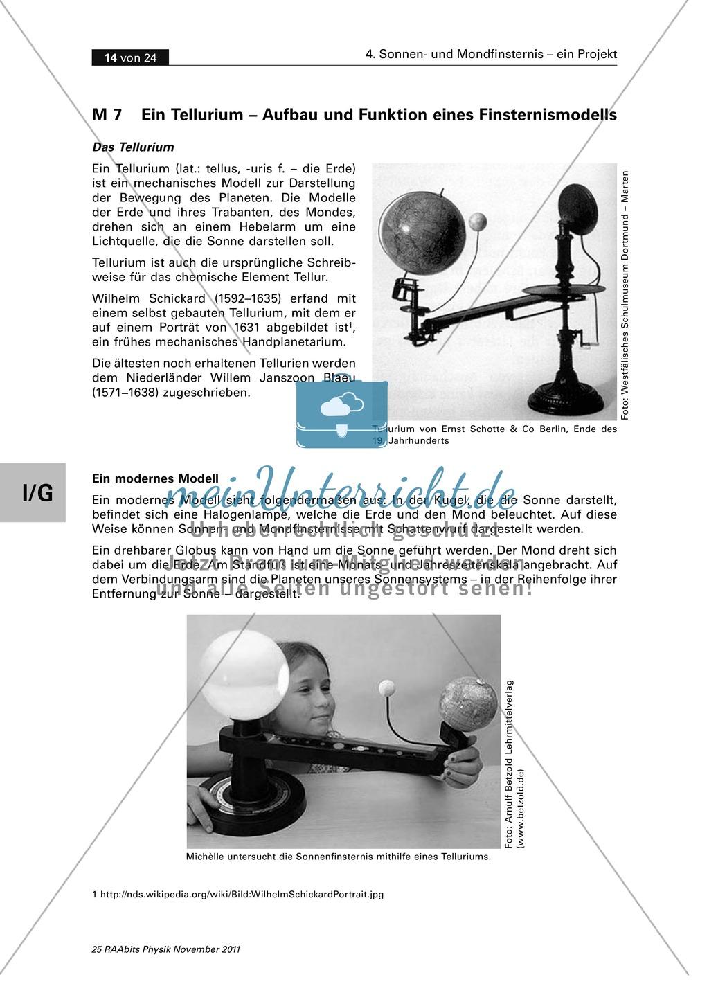 Sonnen- und Mondfinsternis: Ein Tellurium ? Aufbau + Funktion eines Finsternismodells Preview 1