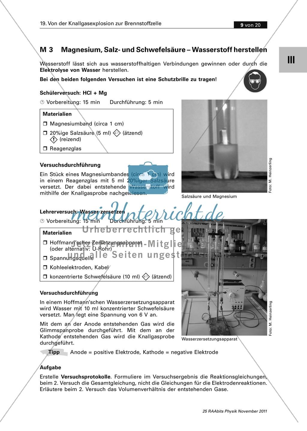 Die Brennstoffzelle: Der Brennstoff Wasserstoff - Erzeugung + ...