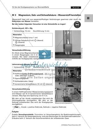 Die Brennstoffzelle: Der Brennstoff Wasserstoff - Erzeugung + Eigenschaften