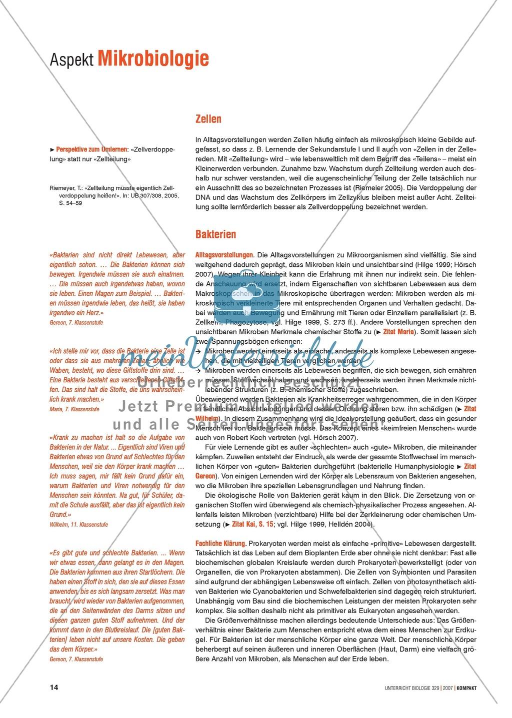 Alltagsvorstellungen zur Mikrobiologie - Zellen und Bakterien: Info ...